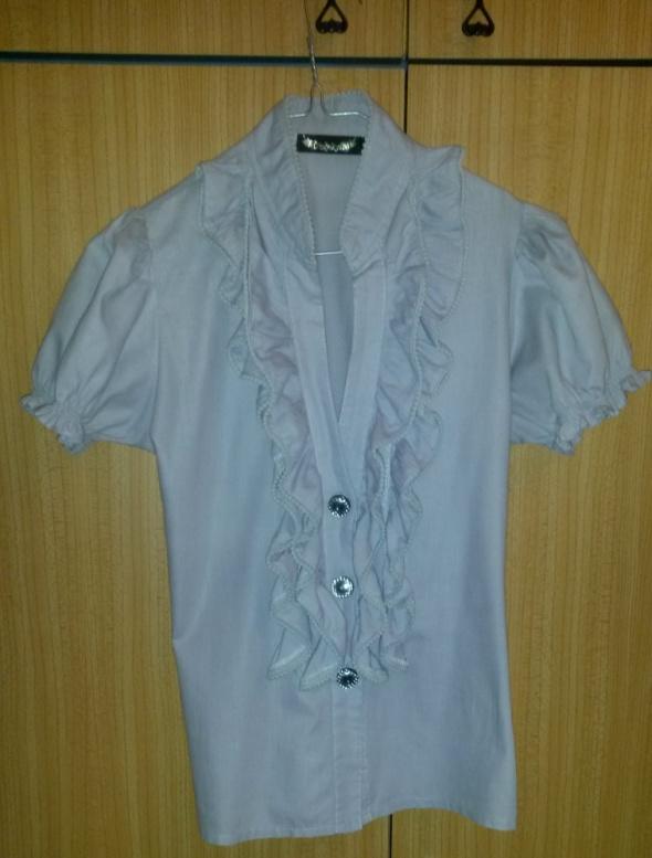 Szara bluzka z żabotem S...