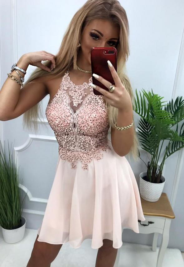 Sukienka mercedes puder róz