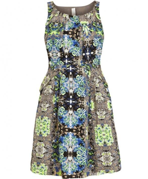 Rozkloszowana sukienka midi Vila print floral fluo...