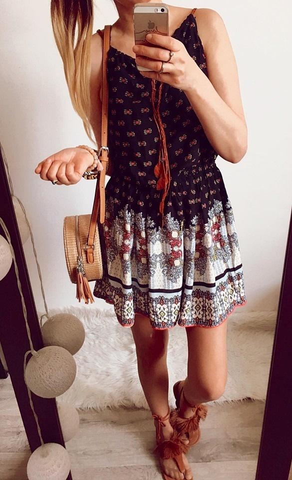 Sukienka Damska rozkloszowana boho M