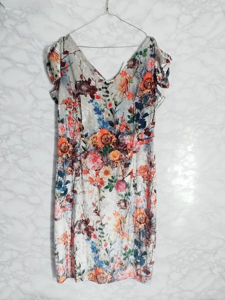 Nowa welurowa sukienka w kwiaty floral bufki klasyczna wesele 44 XXL