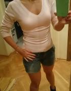nowa bluzka sweterek dekolt V różowa pudrowa 36