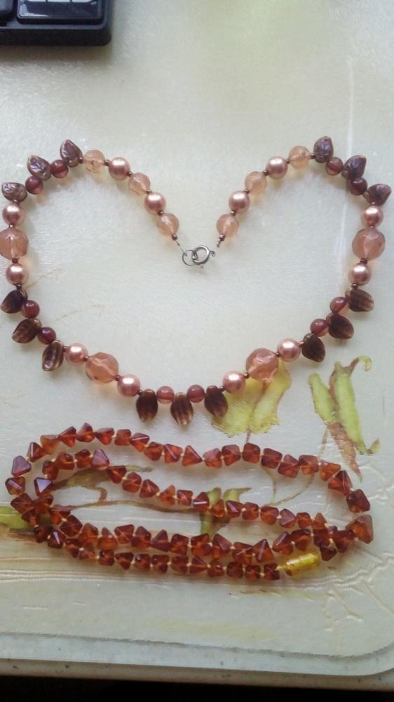 Stare korale naszyjnik bursztyn imitacja