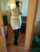 Sukienka off shoulder na ramiaczkach z rękawem