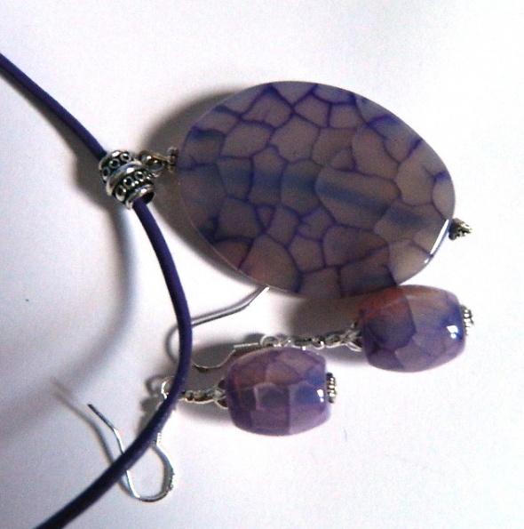 Agat pajęczy fioletowy zestaw wisiorekkolczyki
