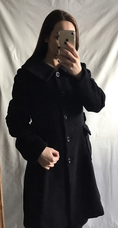 Czarny płaszcz wełna kaszmir alpaka Max Mara 40 L