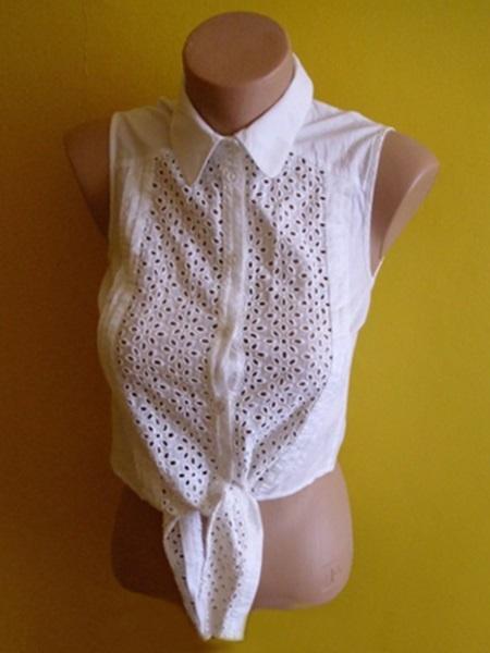 elegancka krótka bluzka koszula zawiązywana u dółu