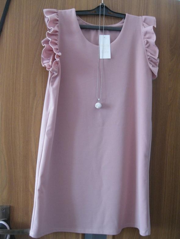 nowa sukienka M pudrowa z naszyjnikiem...
