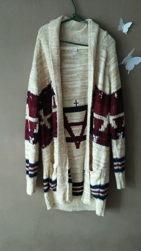 Sweter kardigan ciepły aztec...