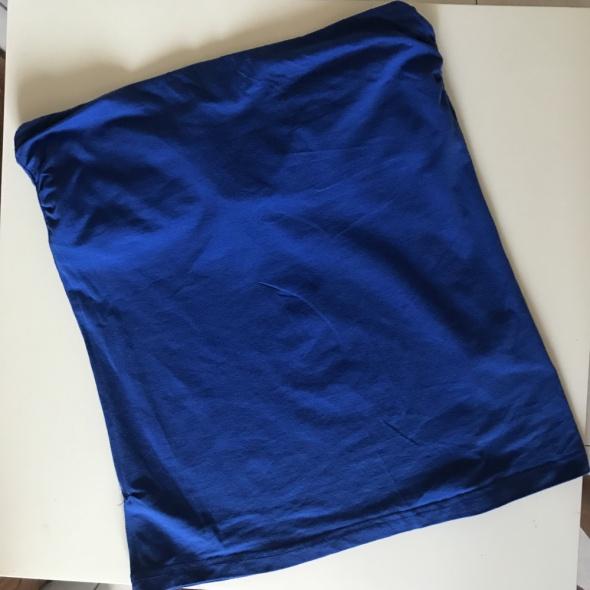 Top bluzka bez ramiączek h&m basic niebieski