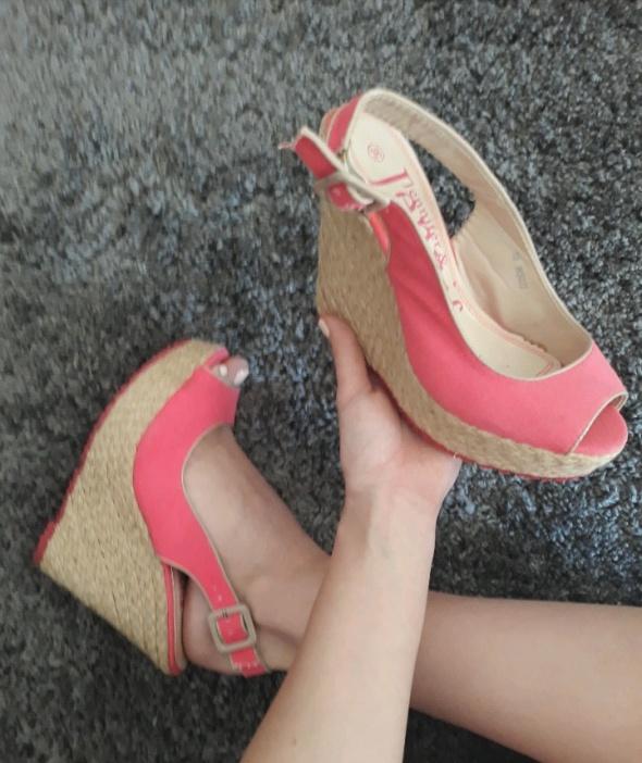 Sandały Jennifer platformy sandały różowe 38