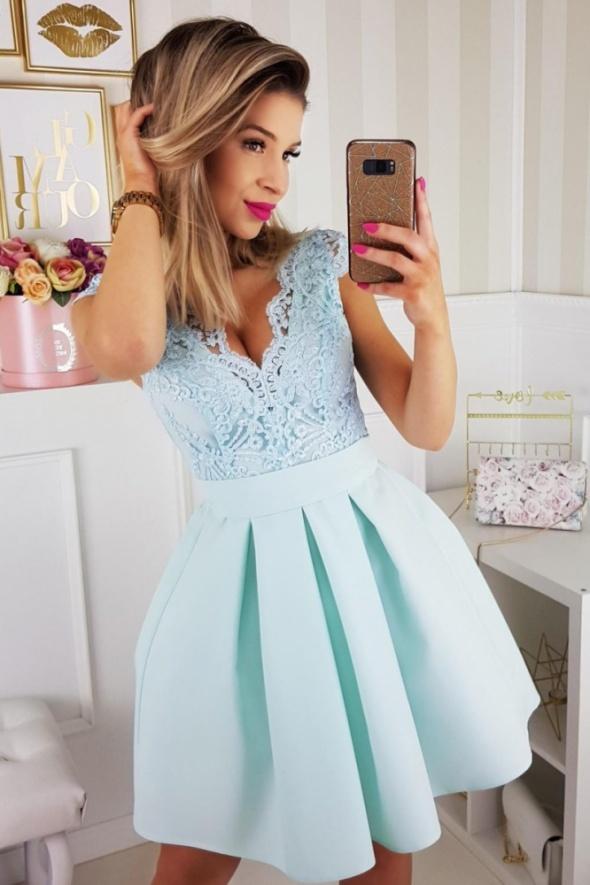 abf106e4667e8b Piękna sukienka koronkowa góra dekolt MIĘTOWA w Suknie i sukienki ...