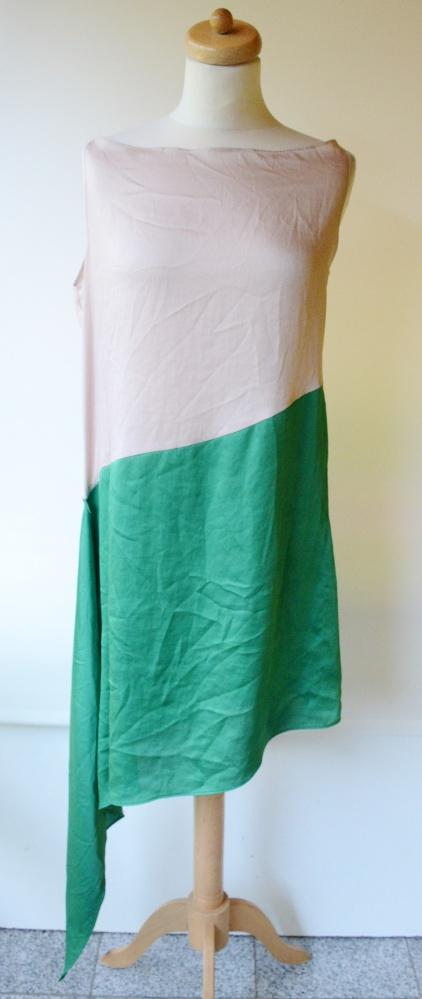 Tunika Beż Zielona Dłuższy Bok Mia Donna L 40