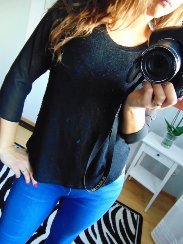 Czarna bluzka elegancka 36 S sztuczny jedwab