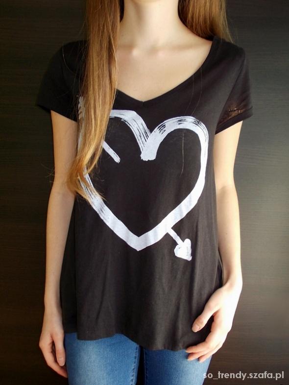 Czarna koszulka z sercem H&M 44 XXL oversize XL L