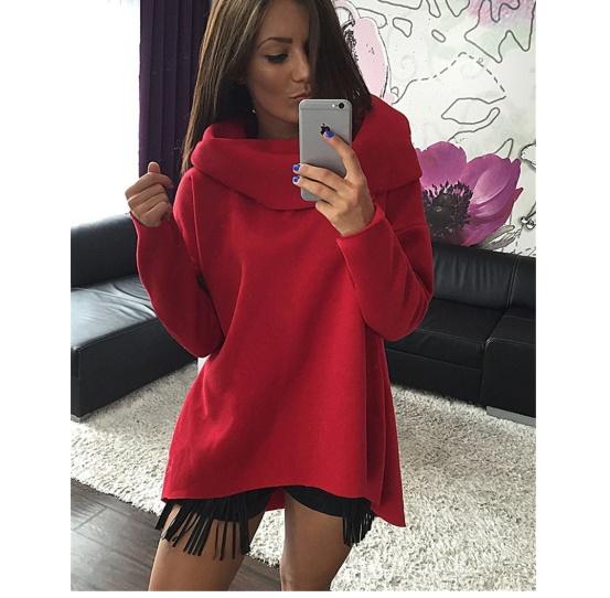Ciepła bluza damska z kołnierzem różne kolory s m l xl