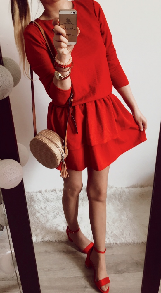 Suknie i sukienki Sukienka Damska czerwona rozkloszowana M