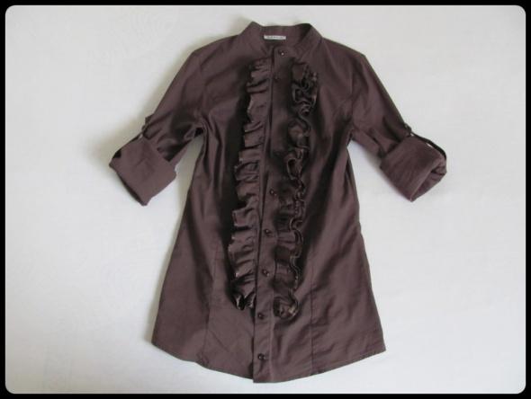 Koszula z żabotem podwijany rękaw rozmiar 36 38