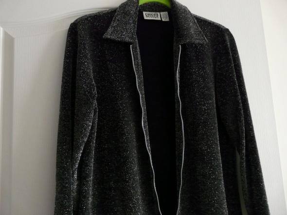 Czarny żakiet bluzka srebrna błyszcząca M 38 zamek