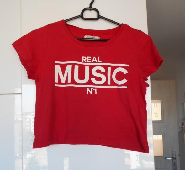 Pull and Bear czerwony crop top napisy music print...