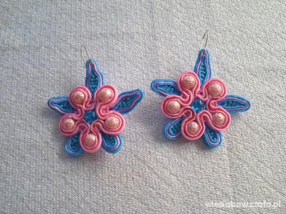 Kwiatek kolczyki sutasz róż niebieski