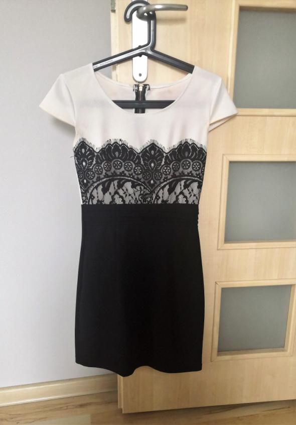 Sukienka biało czarna z koronką 36 vubu