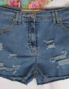 spodenki krótkie jeans wysoki stan przetarcia dziury...