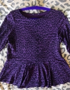 Fioletowa bluzka z baskinką w panterkę L XL...