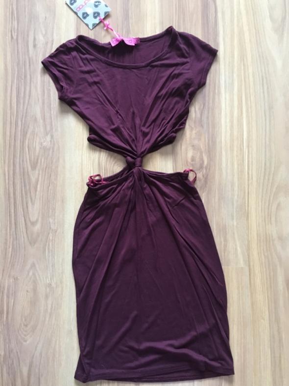 NOWA Bordowa sukienka z wycięciami XS
