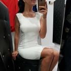 Sukienka biala odkryte plecy cyrkonie Swarovskiego