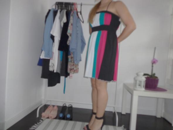 Suknie i sukienki Sukienka kolorowa paski lato na ramiączkach na krz