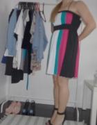 Sukienka kolorowa paski lato na ramiączkach na krz...