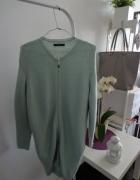 płaszcz wełniany sweter długi niebieski turkusowy miętowy mięta mohito xs oversize wiosna wiosenny
