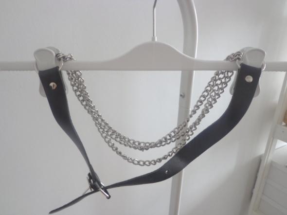 Pasek czarny łańcuch łańcuszek