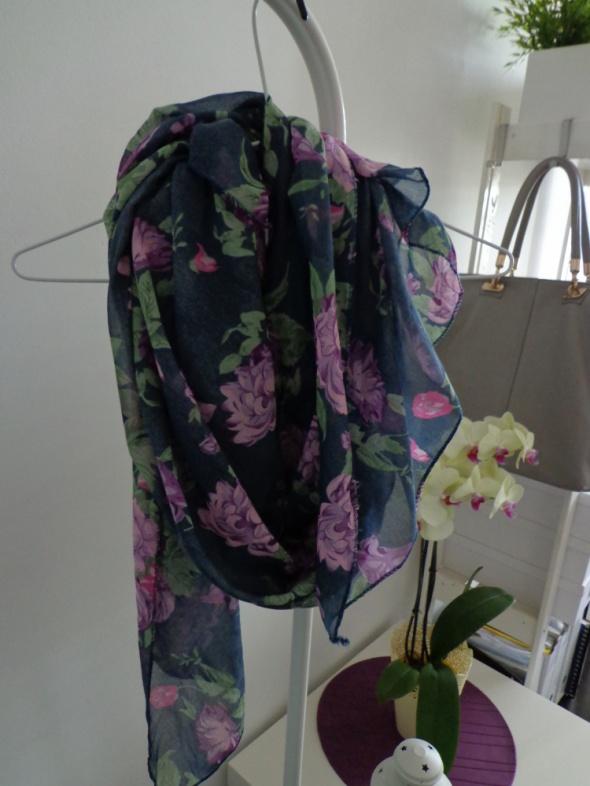 chusta szal etno flower kwiaty kwiatki floral fioletowa
