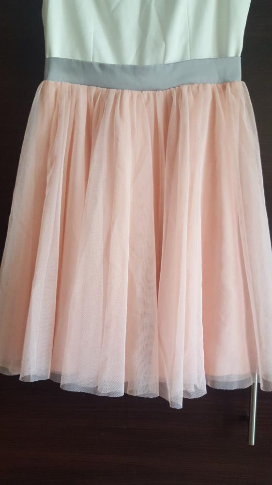 Sukienka tiulowa rozkloszowana brudny róż biała 36 wesele impreza urodziny