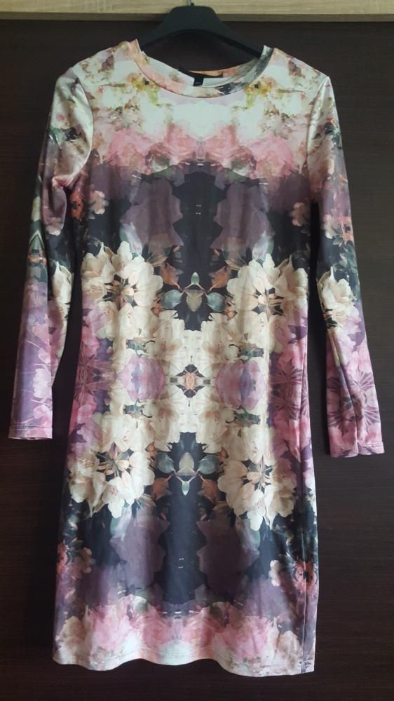 Sukienka ołówkowa midi w kwiaty długi rękaw prosta Topshop Petite 34