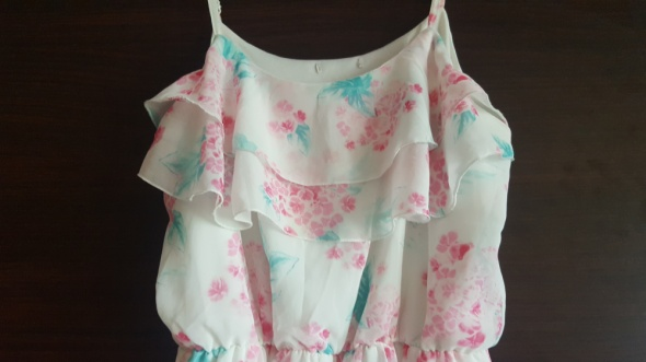 Sukienka na ramiączkach zwiewna lekka w kwiaty biała Cubusas 36 lato