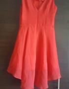 Sukienka czerwona asymetryczna na podszewce 36 dłuższy tył szpic wesel