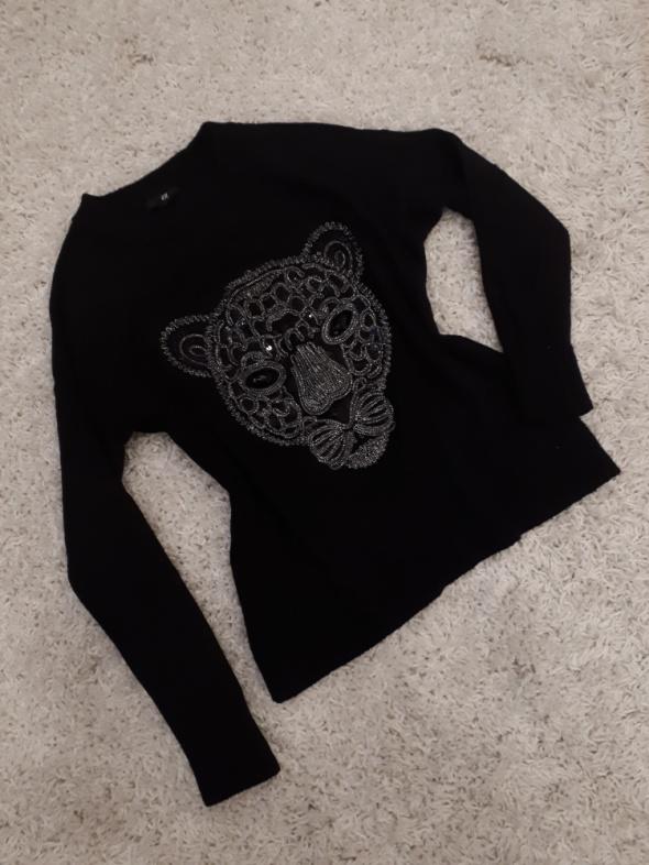 sweter blogerski tygrys ciepły czarny...