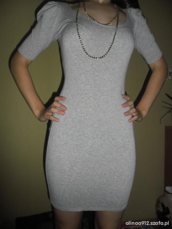 Sukienka szara taliowana