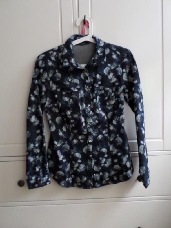 granatowa jeansowa dopasowana koszula mohito kwiaty floral 36 S...