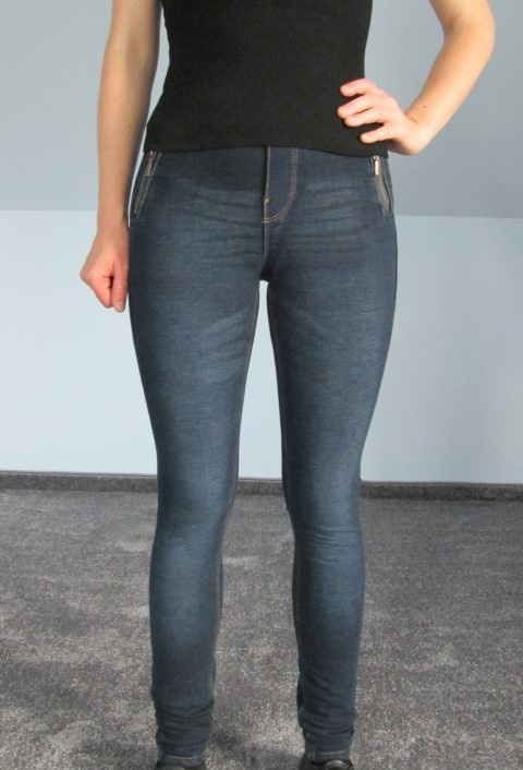 Spodnie Jeansy dżinsy granatowe jegginsy rurki...