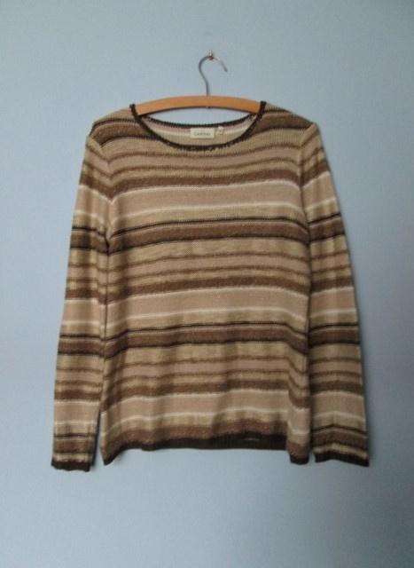 Swetry Beżowy sweterek w paski