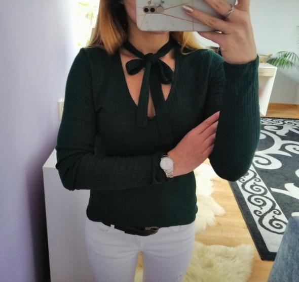 Prążkowany sweterek z kokardą butelkowa zieleń...