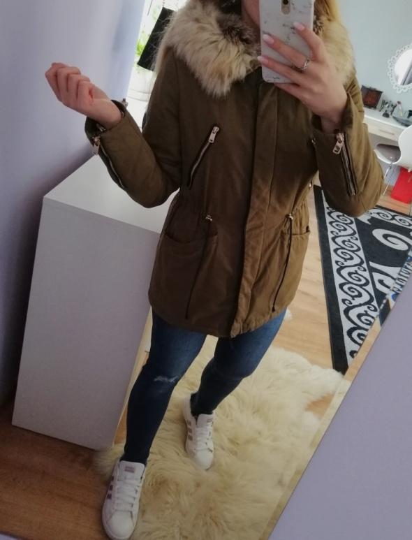 Odzież wierzchnia Parka kurtka zimowa z misiem khaki Zara