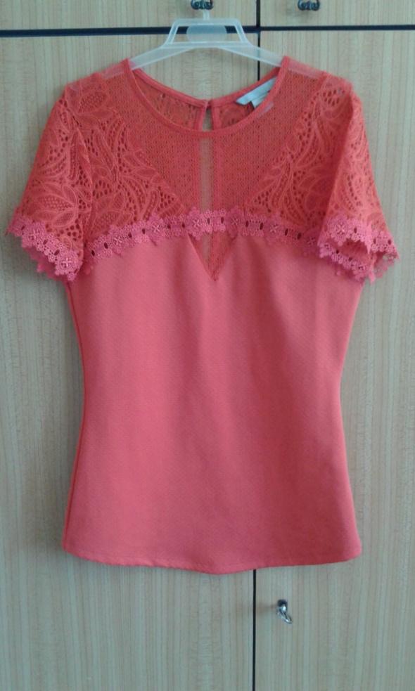 Pomarańczowa bluzka z koronką H&M 34 XS...