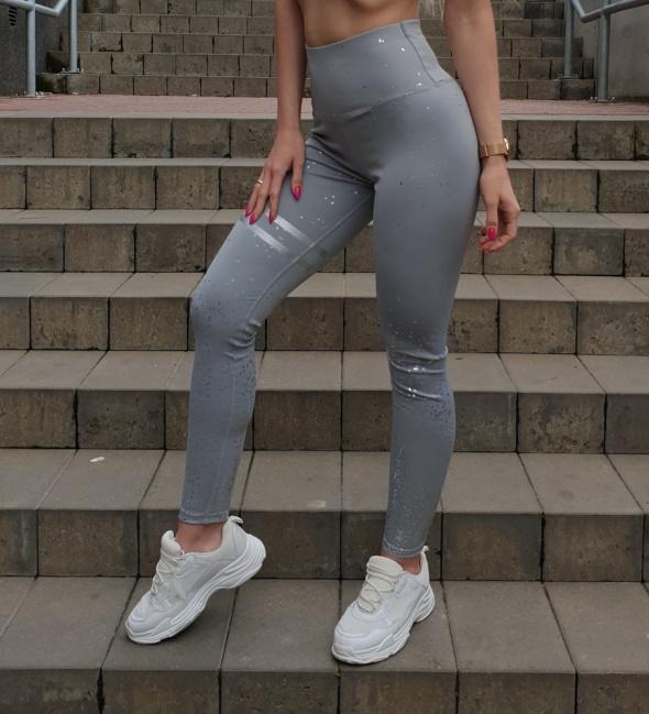 Legginsy rozmiar S getry spodnie dresy siwe z ozdobnymi akcentami rozciągliwe