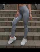 Legginsy rozmiar S getry spodnie dresy siwe z ozdobnymi akcenta...