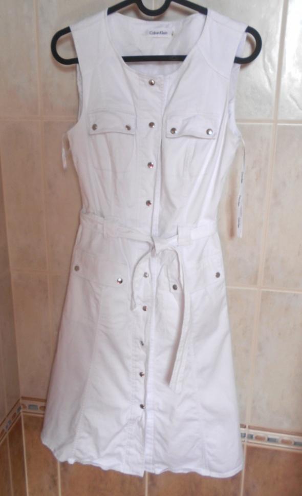 Calvin Klein biała sukienka minimalizm szmizjerka...